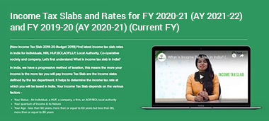 Income Tax Slabs for FY 2020-21 (AY 2021-22) and FY 2019-20 (AY 2020-21)