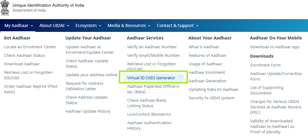UIDAI official website