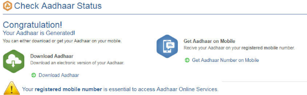 Aadhaar card is generated