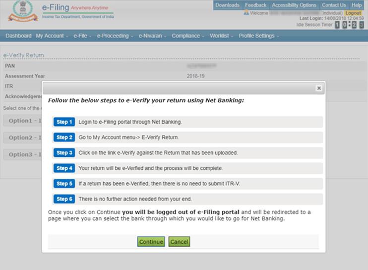 Net Banking option