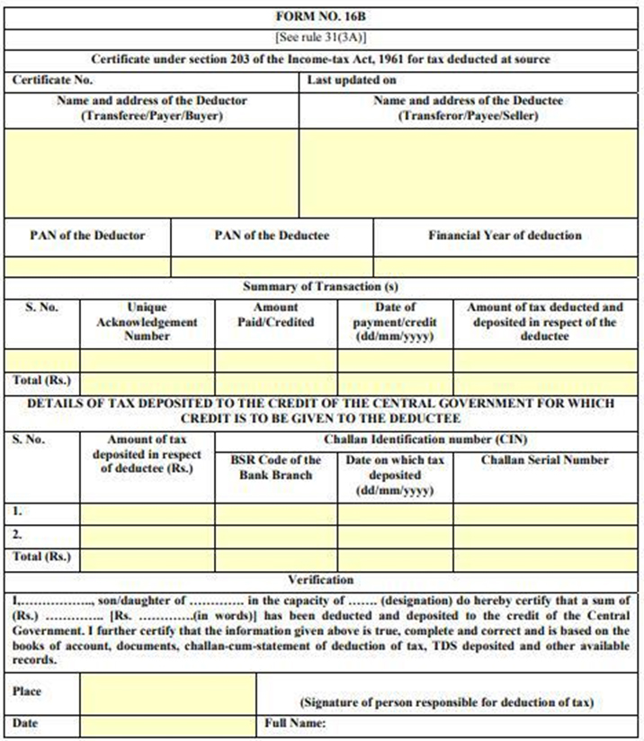 Form 16B: Download TDS Certificate for Sale of Property