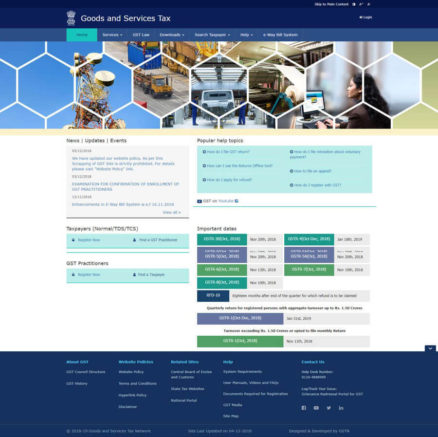 homepage of the gst portal