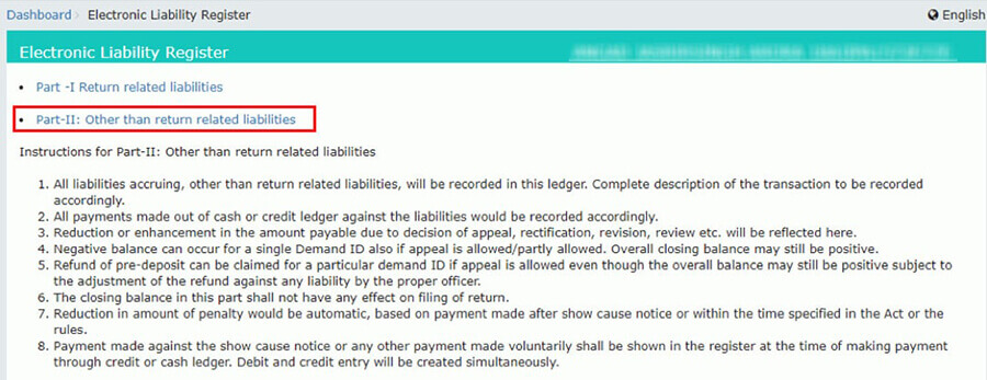Electronic Liability register details