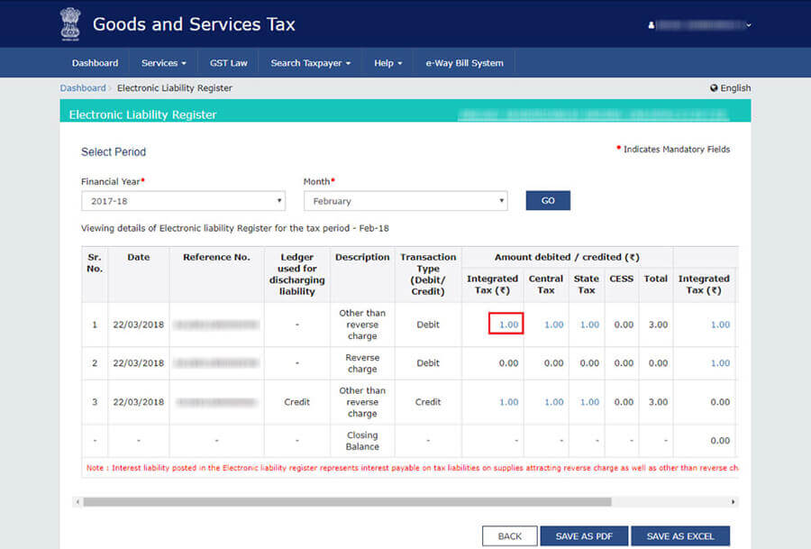 GST Electronic Liability register details