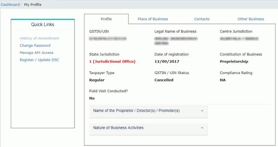 My Account- View user Profile u nder gst portal