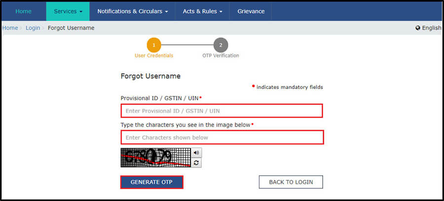 Retrieve the Username under GST