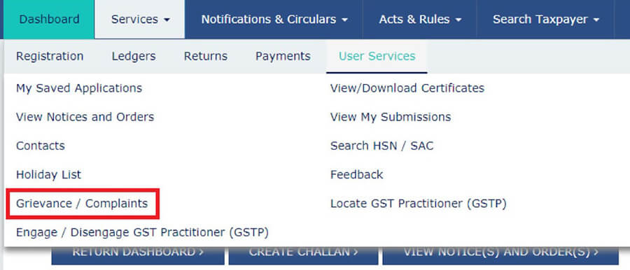 Grievance Submission Process under GSt