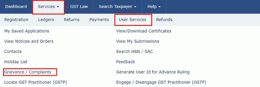 Check Status of submitted Grievance