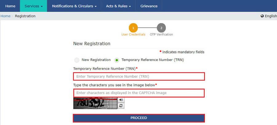 Enter TRN under GST