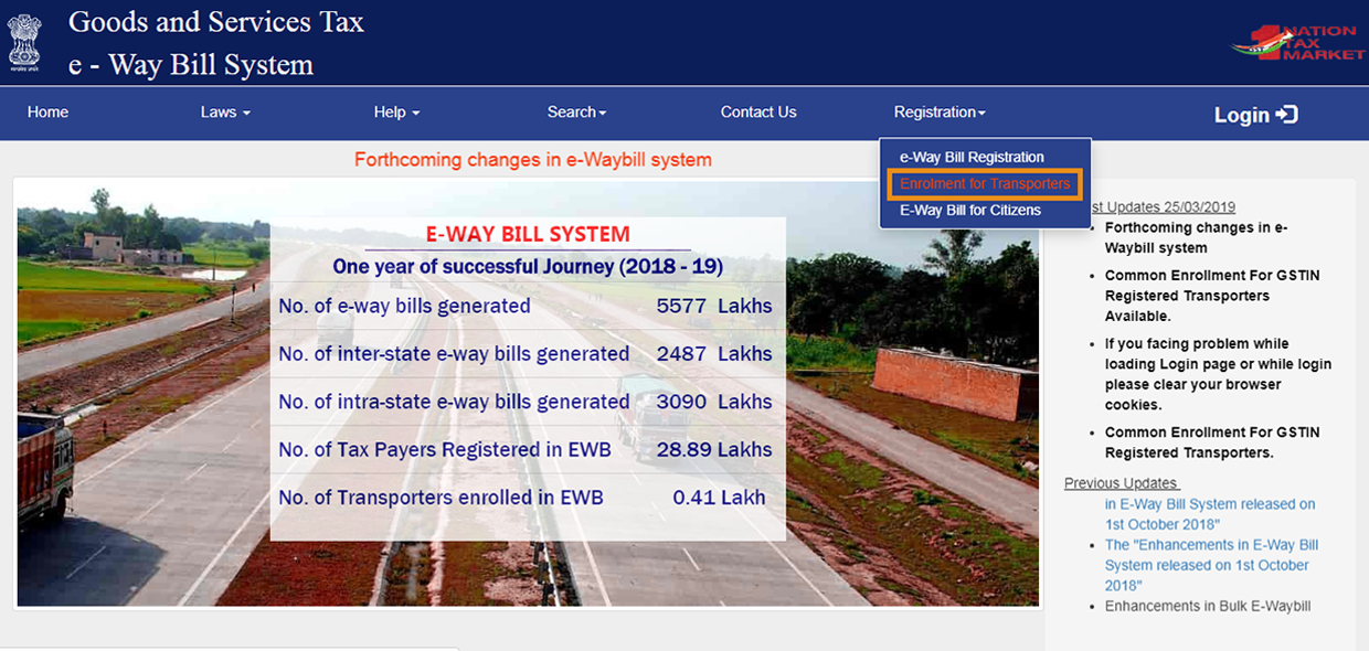 E-way bill registration for trasnporters