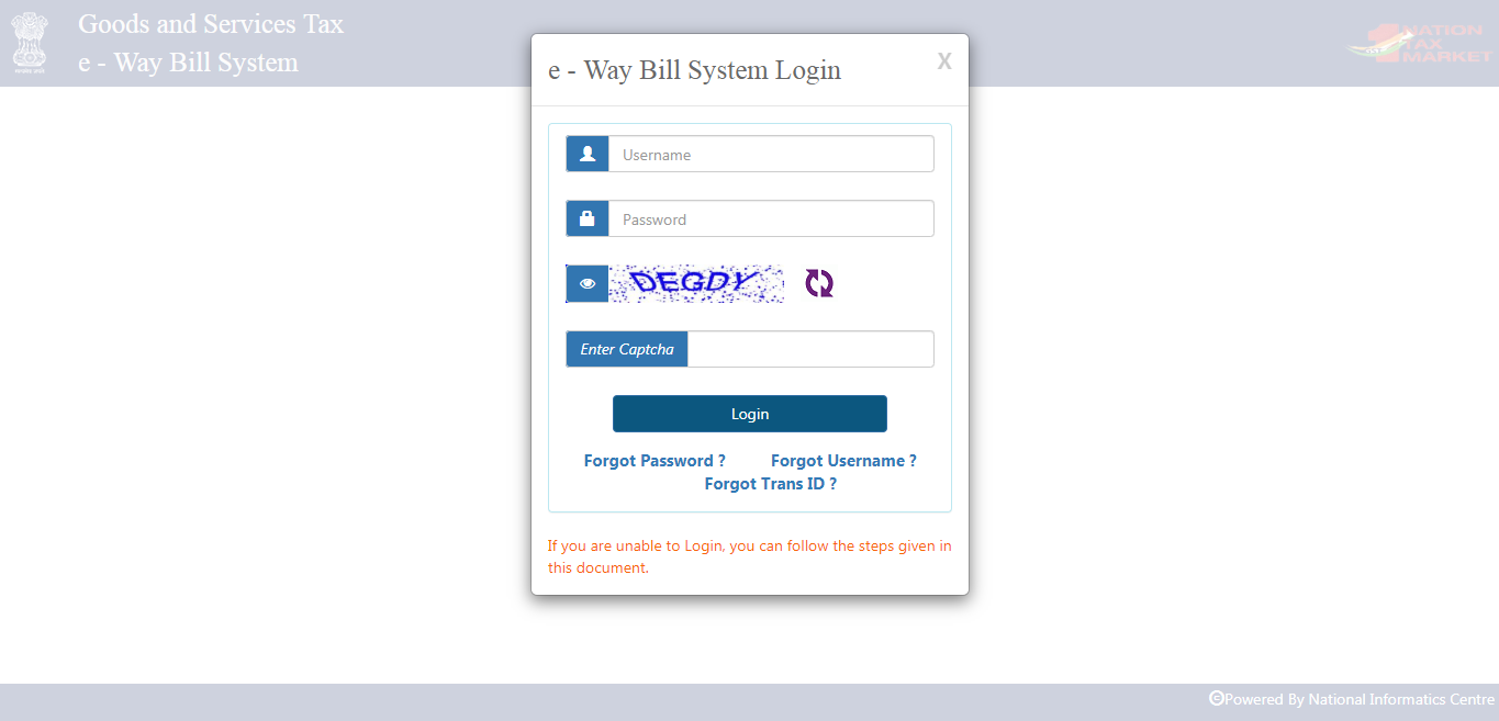 e-way bill trasnporter registration form