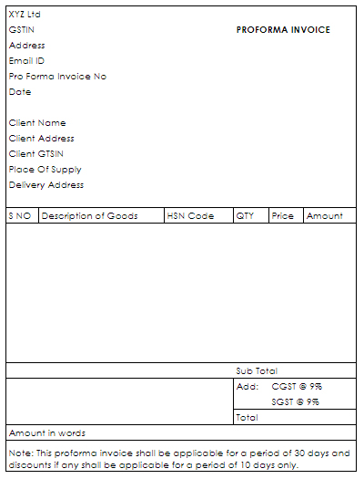 Format of Pro forma invoice