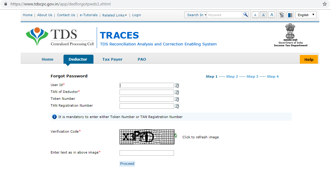 TRACES Forgot password