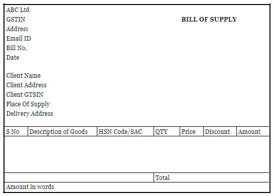 format bill supply