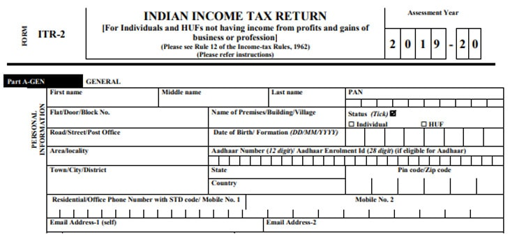 Part A of the form ITR-2