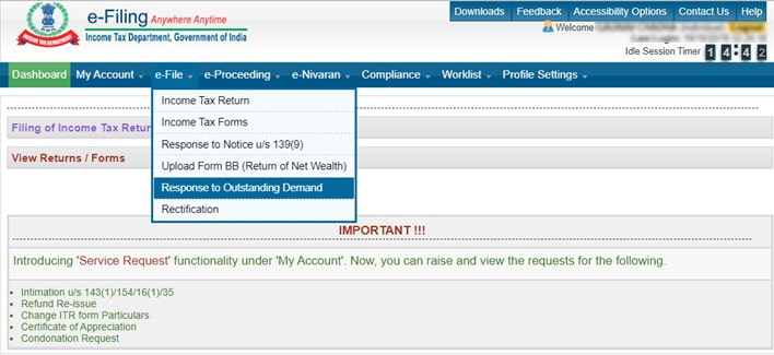 Select the option of E-file
